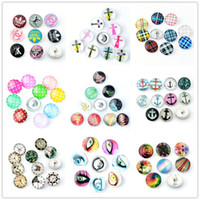 anchor jewelrys - Mixed Colors mm Snap Buttons Jewelrys christmas trees Stripe Spot Cross Clock Eye Anchor Glass Snaps Fit Snaps Bracelets or necklace