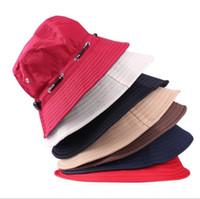 Ведра оптовой Цены-Оптовая-11 цветов! 10pcs / серия сплошного цвета шлемов ведра для мужчин Панама женщин вскользь Bucket Hat For колпачок Мужчины Женщины Открытый Рыбак Hat бассейна