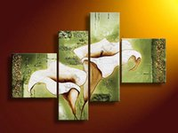 Wholesale Modern Green Abstract Morning Glory Artwork Flower Oil Painting On Canvas Panel Arts Set Home Wall Decorative For Living Room