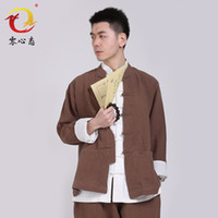 Wholesale wind middle aged man cotton long sleeved casual costume male lay clothes meditation service Chinese summer coat jacket