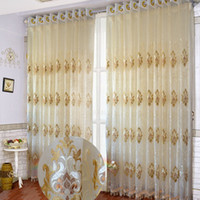 curtain voile - Beige Coffee Modern Fashion Sheer Embroidered eyelet voile Curtains for Kitchen Living Room Window Bedroom Sheer Curtains