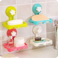 bath bar soap - Cute Kawaii Colored Wall Mounted type Plastic Bath Flower Storage Box Soap bar Holder Kitchen Tools Sponge Drain shelf bag