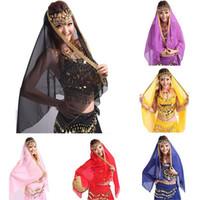 Cheap Women Belly Dance Costume Veil Chiffon Big Shawl Skirt Scarf Gypsy Tribal Gold Trim Headscarf