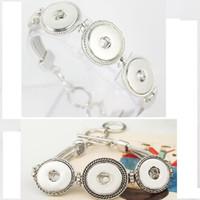 achat en gros de bracelets bracelet antique-Hot Bracelet BraceletBangles en gros plus anciens Design Antique argent plaqué chaîne Vintage noosa morceaux Bracelet 2 Styles Fit Snaps Bijoux