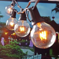 backyard patios - Patio Lights G40 Globe Party Christmas String Light Warm White Clear Vintage Bulbs ft Decorative Outdoor Backyard Garland