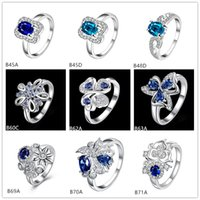 Wholesale Mixed style high grade fashion blue gemstone silver ring EMGR13 Futaba flower sterling silver ring pieces a