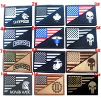 Wholesale VP inch D Embroidered patches Punisher US flag sheepdog Marines Tactical Isaf Attack Badge patches outdoor badges