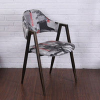 Wholesale Minimalist modern designer vintage wood and Metal Bar Stools metallic iron chair bar chair bar stools cafe shop decoration