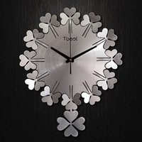 Wholesale 1 Lucky grass modern minimalist art creative clock quartz clock pendulum large living room wall clock bedroom quiet wall clock