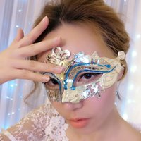 Wholesale Gold Crown Princess half face mask painted hollow electroplating masquerade ball queen Mask Halloween party mask manufacturers selling