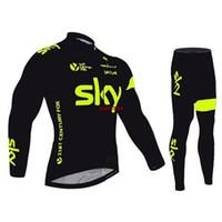Wholesale 2016 Sky Green Fluo Black long sleeve cycling jersey Tour De France Bike Wear autumn Winter cycling clothing Size XS XL