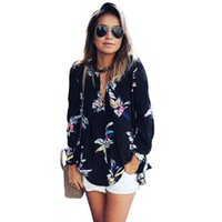 Wholesale JECKSION Womens Chiffon Blouse Fashion Floral Printing Loose Long Sleeve Tops V Neck Lady Clothes Y1