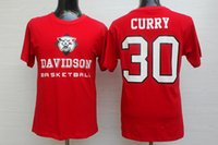 basketball tee - Curry Davidson College Basketball Jerseys Combed Cotton Red T shirts tees Size S XL Mix order