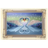 Wholesale 5D DIY Diamond Painting Kits Round Rhinestone Draw Diamond embroidery Animals Swan Cross Stitch Kit Mosaic Picture Swans in Love