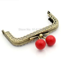 Wholesale Metal Frame Kiss Clasp Arch For Purse Bag Antique Bronze Red Ball x6cm Can Open Size x12cm B01498