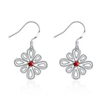 amazing earings - Amazing Ruby Hollow Flower Dangler Earrings For Women Engagement Plated Sterling Silver CZ Earings Eardrop Jewelry Christmas Gift