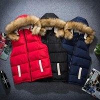 Wholesale New Arrival Vest Waistcoat Solid Fur Hooded Down Jacket Vest Men Winter Outerwear Waistcoat Sleeveless Jacket