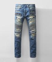 acid jean - mens distressed jeans ripped Classic retro Balmain blue jeans men spring new arriving men jean brand denim biker