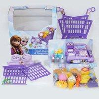 Wholesale Cash Register Shopping Cart Toy Suit Kids Elsa Anna Pretend Play Furniture Children Educational Interactive Retail Plastic