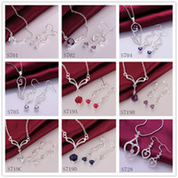 Wholesale 6 sets diffrent style and color women s gemstone sterling silver jewelry sets DFMS28 cheap fashion silver Earring Necklace jewelry set