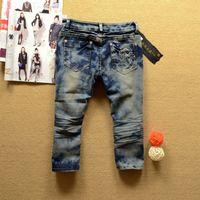 alpha beads - Alpha Summer Women Diamond Retro Jeans Trendy European American Style Women Vintage Pleated Streetwear Knee Length Denim Jeans