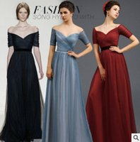 Wholesale 2016 New Evening Dress Dinner Dress V Collar Maxiskit Banquet Toast Wedding Dress Short Sleeve Long Dress Evening Wear Clothing BALL DRESS