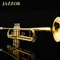 Wholesale JAZZOR JZTR Professional Beginner Trumpet B Flat Gold Lacquer trompeta trumpete musical instruments with trumpet mouthpiece