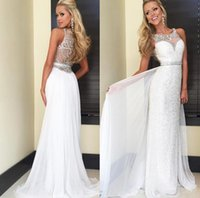 ba beaded - 2016 Scoop Sweep Train Sexy Modern Classic Vintage prom dresses Backless Zipper White Sequined Crystal Beaded Prom Gowns Boat NeckBeading Ba