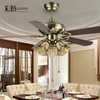ac brush motor - 42 inch Fan Lights Restaurant Bedroom Ceiling Fan with Light Lamp Antique European Fan Light Minimalist Universal Motor