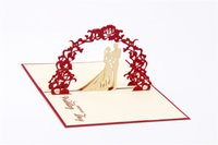 Wholesale Sweety wedding invitation D laser cut paper cutting Greeting Pop Up Kirigami Card Custom postcards Wishes Gifts for lover