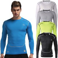 Wholesale Mens Hunting Camping amp Hiking Compression Shirt Outdoor Sports Tops Base Layer Long Sleeve GYM T Shirts Fitness Tees Black