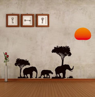 Wholesale Jungle Wild Cartoon Tree Elephant Sun Prairie Removable Decal Home Decor Wall Sticker Wallpaper high Quality