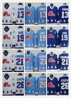 achat en gros de nordiques de québec-Cord LNH Québec Nordiques # 19 Joe Sakic / 21 Forsberg / 26 Stastny / 13 Sundin / 32 BROUSSEAU Blanc Drak Bleu clair Maillot de jersey de hockey mélangé