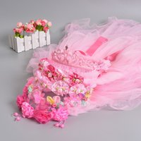 Wholesale 5 Style Mixed Flower Girls Head Pieces Garland Tulle Bow Sequined Kids Accessory Toddler Veils Hair Accessory