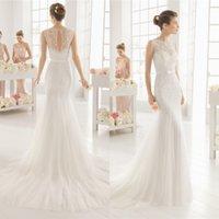 Wholesale 2016 jewel Elegant mermaid Bride gowns lace Sheath tulle high quality wedding dresses country style plus beach wedding dress QW812