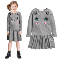 Cheap Spring / Autumn Grey Cat Print Girls Dresses Best Knee-Length Cotton Blends Long Sleeved Big Girl One Piece Dress