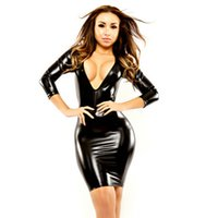 Wholesale New Arrival Hot Sexy Black Wet Look Bodycon Dress Patent Leather Sexy Women Nightclub Slim package Hip Dress