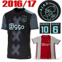 Wholesale 2016 Ajax Soccer Jersey Ajax Home Red Maillot de foot Klaassen MILIK SCHONE Football Shirt Bazoea Black camisetas de futbol Top Quality