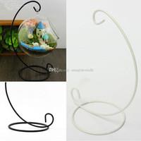 Cheap 1Pc Iron Wedding Candle Holder Candlestick Glass Ball Lantern Hanging Stand E00015 SPD