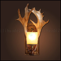 antler knob - American Rural Countryside Retro Bar Cafe Creative Bedside Wall Lamp Stair Wall Lights European Bar Antlers Lighting