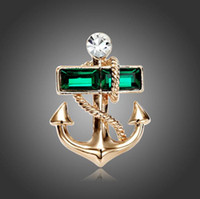 african male clothing - Personality gold plated green crystal metal anchor unisex brooch suit lapel pin male gifts clothing for women