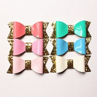 aritificial grass - PU Bow Hair Aritificial Leather Glitter Felt Shinning Baby Cute Bows Hairpins Hair Clips KidsTop Quality