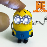 Wholesale New Arrival Minion LED Light Keychain Key Chain Ring Kevin Bob Flashlight Torch Sound Toy Despicable Me Kids Christmas Promotion Gift