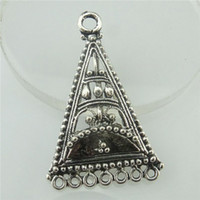 antique tibetan earrings - 18458 x Antique Tibetan Silver European Triangle Filigree Pendant for Earring