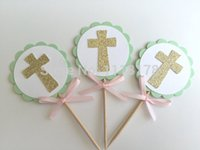 baptism cake topper - MINT Gold Baptism Cupcake Toppers First Communion Confirmation Christening wedding party cake topper