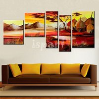 african art wall decor - 5 panel wall art irregular africa painting Handmade oil painting on canvas abstract african tribe life landscape pictures on the wall decor