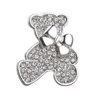ball bearing china - 12pcs jewelry silver plated trendy Studded with full rhinestone mosaic bow knot cubs winnie Bear Brooch pin Corsage women Hot xz021