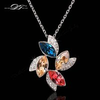 Cheap 2015 New Luxurious Flowers Designer CZ Diamond Vintage Necklaces & Pendants Crystal Rock Party Jewelry For Women collares DFN436