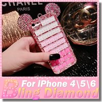 ear covers - Fashion Luxury Case For Iphone6 plus Mickey Mouse Ears Rhinestone Crystal Case iphone s s Diamond Skin Glitter DIY Bling Cover