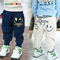 Wholesale 2 colors Cotton Kids Boys Pants Smiling Boys Harem Pants Boys Clothes Sports Casual Boys Trousers